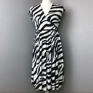 LOFT Black & White Zebra Print Dress